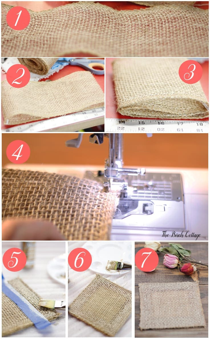 Make these Burlap Coasters from burlap ribbon from The Birch Cottage