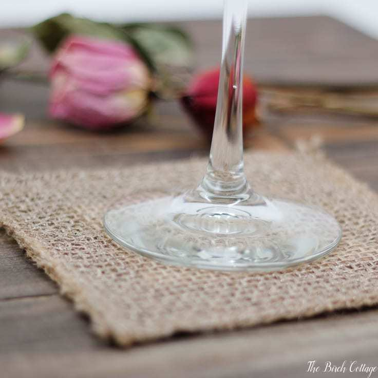 Make this Burlap Coaster from burlap ribbon from The Birch Cottage