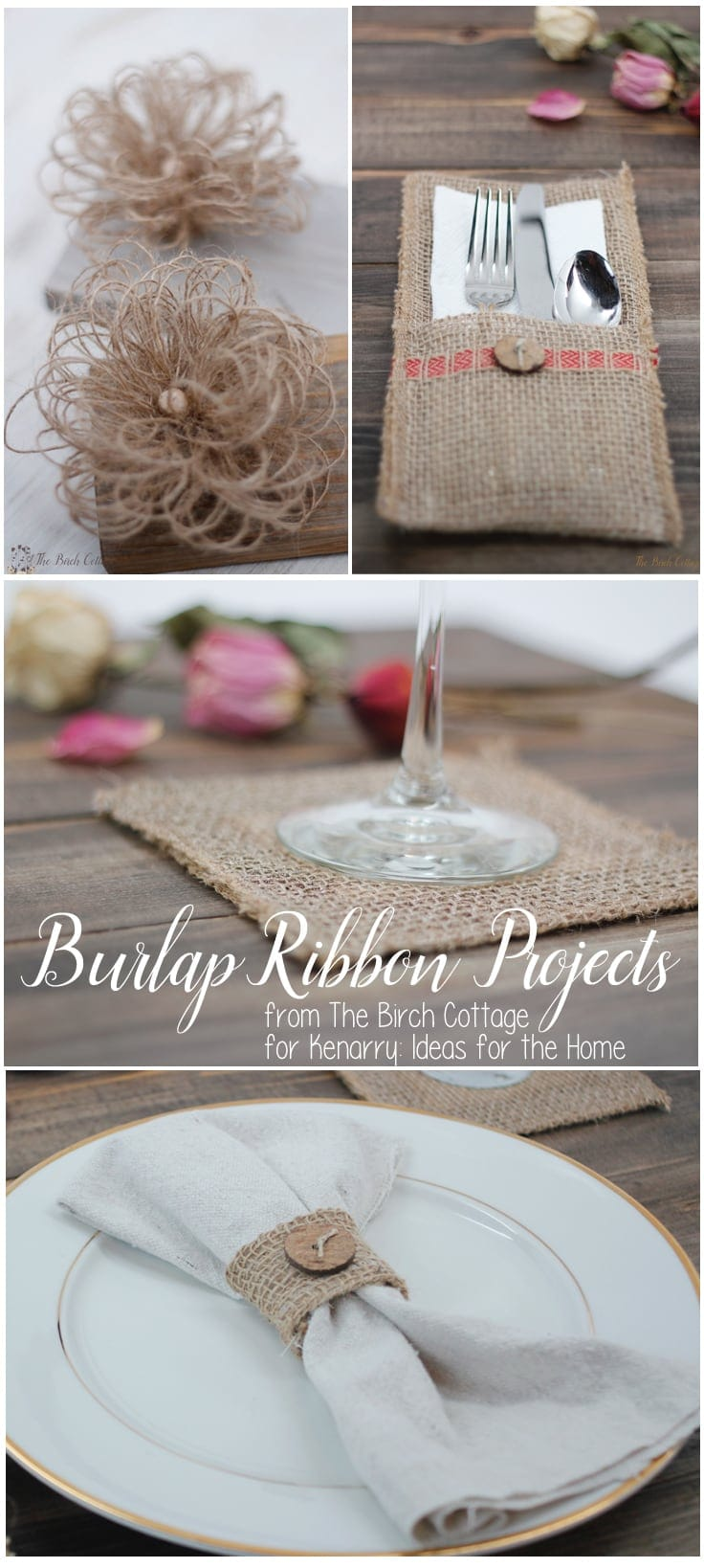 Four easy burlap ribbon projects from The Birch Cottage.