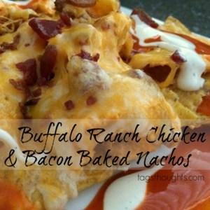 Buffalo Ranch Chicken & Bacon Baked Nachos, TrishSutton.com