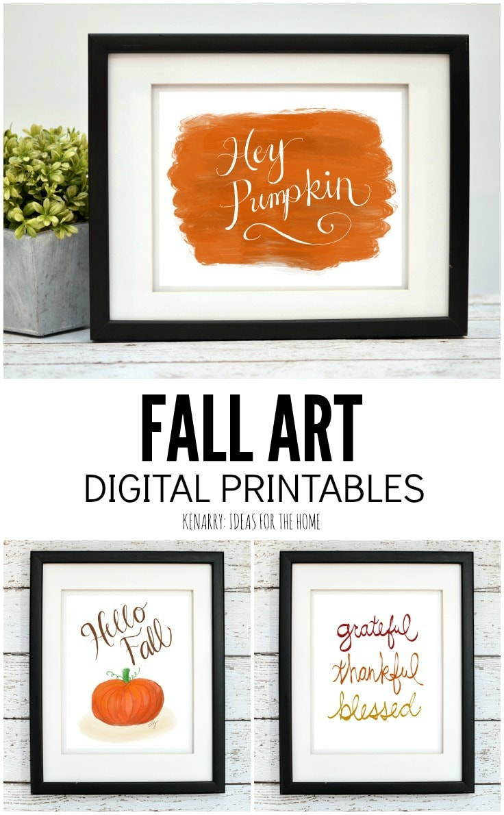 Use printable fall art to spruce up your home decor for the new season. This collection of digital art from Kenarry: Ideas for the Home is great for autumn, Halloween and Thanksgiving available and is available now on Etsy.