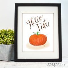 Say hello to fall with this beautiful pumpkin print! It's available as printable digital art on Etsy from Kenarry: Ideas for the Home. This fall art is a great way to decorate the walls of your home on a budget for autumn, Halloween and Thanksgiving.