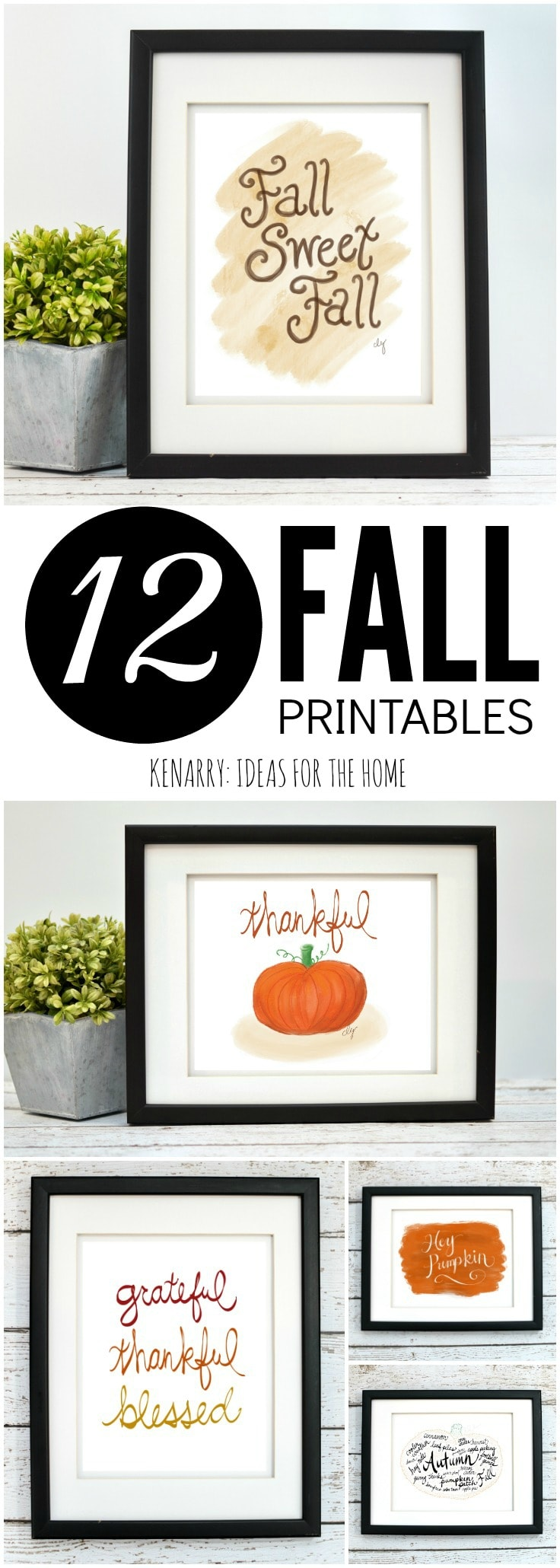 The fall art collection from Kenarry: Ideas for the Home is available as digital printable art on Etsy. Printables are a great way to decorate the walls of your home on a budget for autumn, Halloween and Thanksgiving.