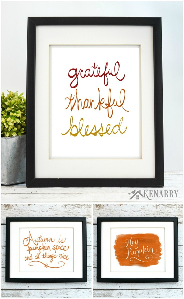 Fall printables are a great way to easily update your home decor for autumn, Halloween or Thanksgiving. This fall art collection from Ideas for the Home by Kenarry® is available as digital printable art on Etsy.