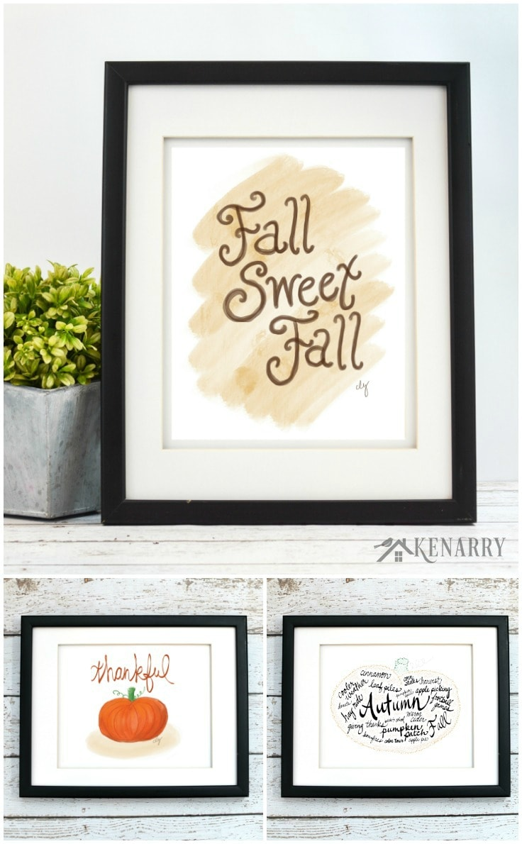Oh, fall sweet fall.... With the fall art collection from Kenarry: Ideas for the Home, you can easily update your home decor for autumn, Halloween or Thanksgiving. Each of the 12 prints in this collection is available as digital printable art on Etsy.