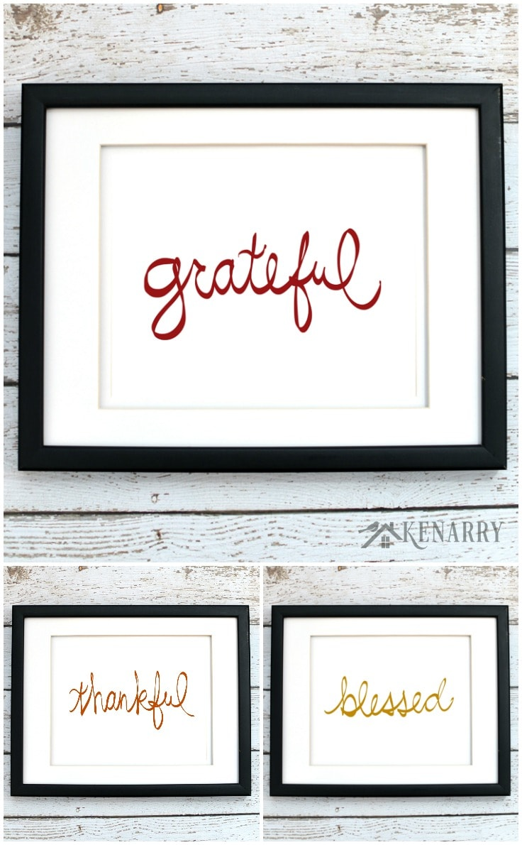 Hang these Thanksgiving printables individually or buy all three and hang them as a set in your home. They're part of the fall art collection from Kenarry: Ideas for the Home on Etsy. Digital printables are a great way to easily decorate the walls of your home on a budget.