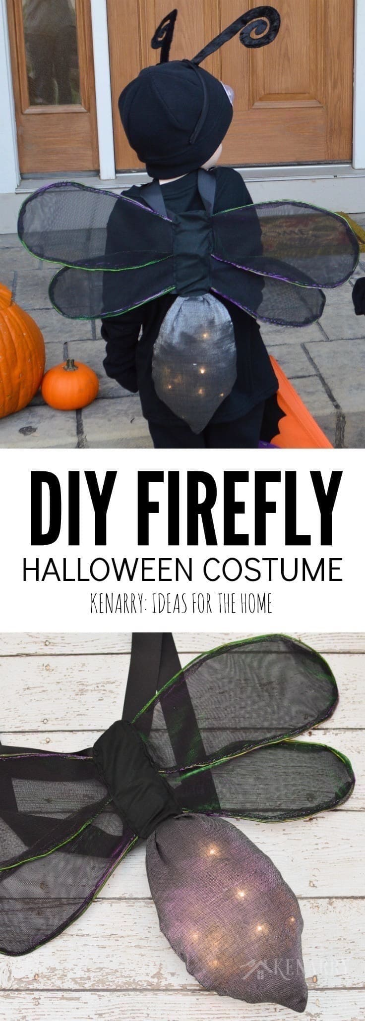 Learn How To Make DIY Wings For A Kids Firefly Costume Halloween Playing Dress