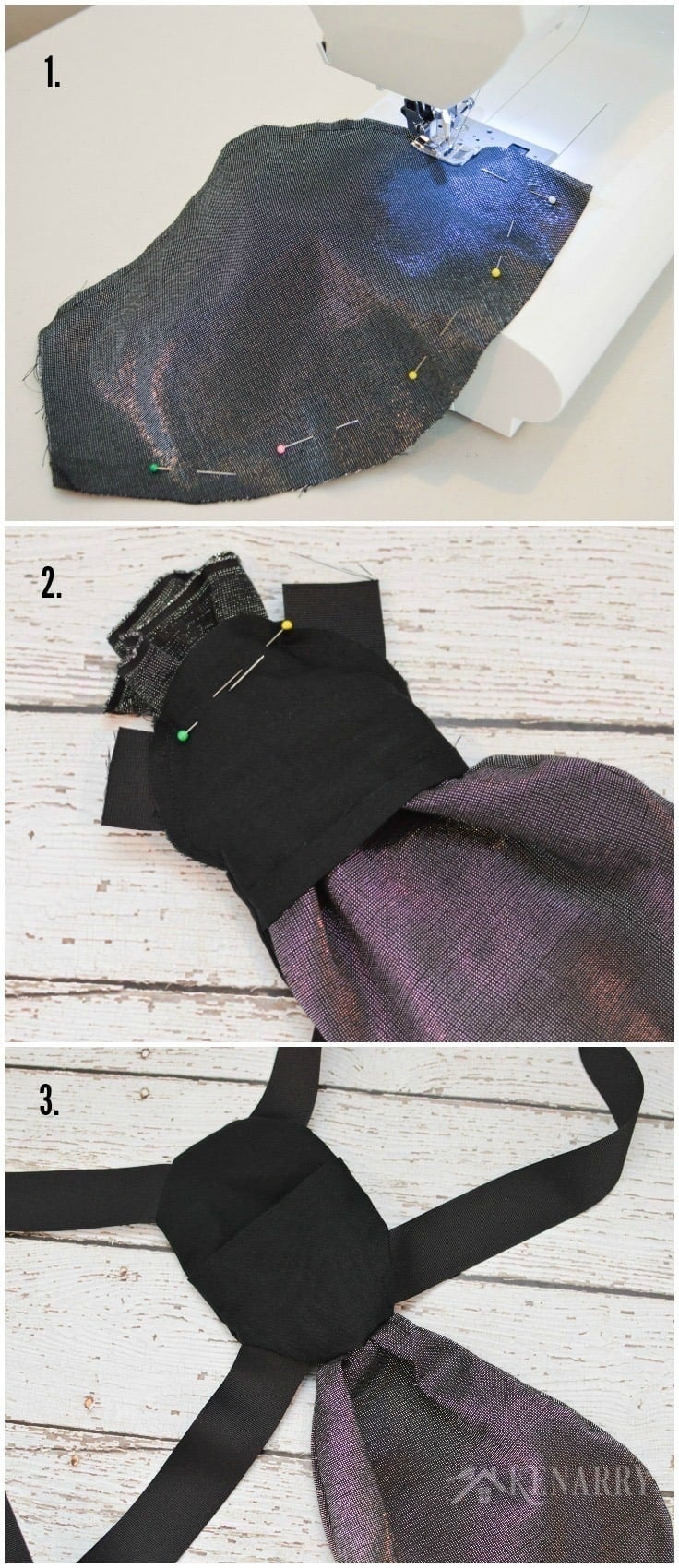 Sew an iridescent pouch to a black back pack to make DIY wings for a child's firefly costume for Halloween.