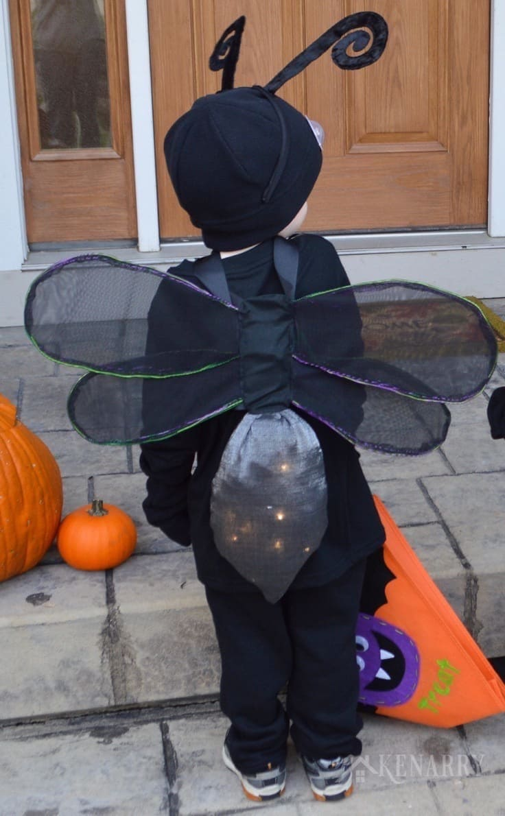 Make DIY wings for a child's Halloween costume. This sewing tutorial would work for any bug costume, but is especially designed to make a fire fly costume or lightning bug costume for kids.
