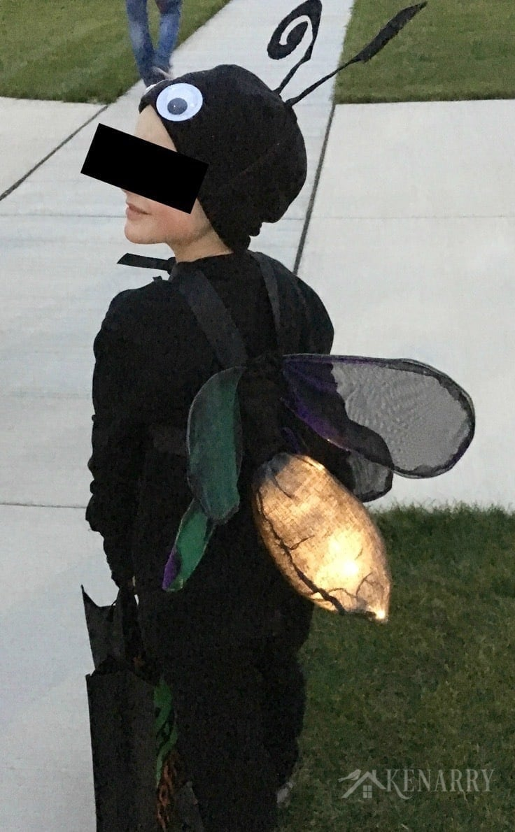 This firefly costume for kids lights up at night to make it easier for a child to be seen on Halloween night. Learn how to make DIY wings for a lightning bug costume.