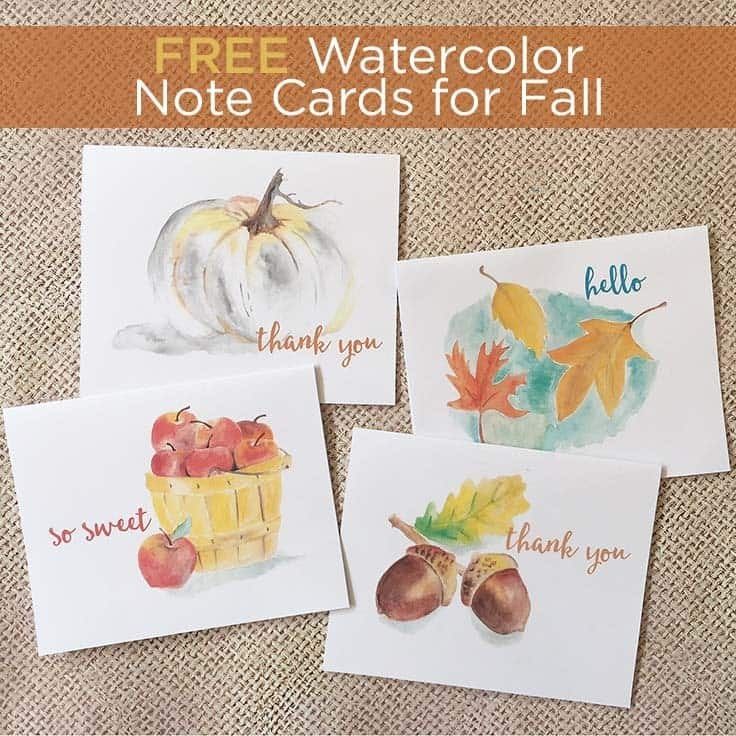 FREE fall watercolor note cards