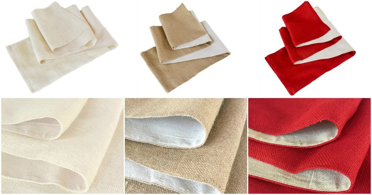 Choose a cream, red or natural burlap table runner for your home decor. It's a great way to add texture and style on a table or mantel for a party, wedding, Thanksgiving, fall, Christmas, holiday or every day farmhouse style decor. It's fabric lined with hemmed sewn edges that won't fray for high quality durability.