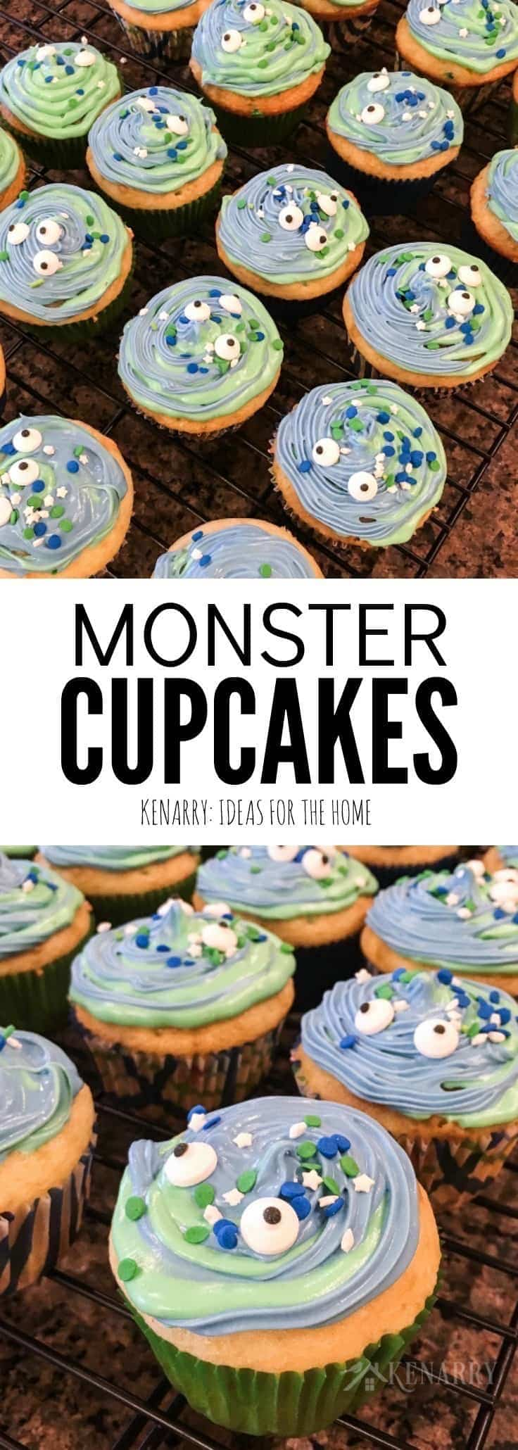 These monster cupcakes with blue and green swirl frosting would be a fun birthday treat or Halloween dessert. With this easy decorating tutorial, they could even pass as aliens!