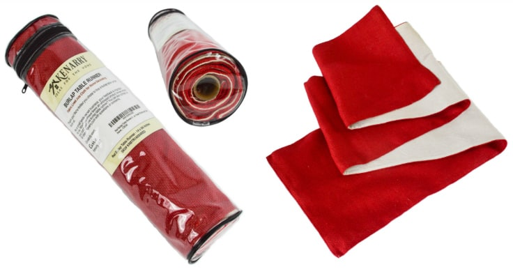 Use a red burlap table runner to decorate a table or mantel for a party, wedding, Christmas, holiday or every day style. It's fabric lined with hemmed sewn edges that won't fray for high quality durability.