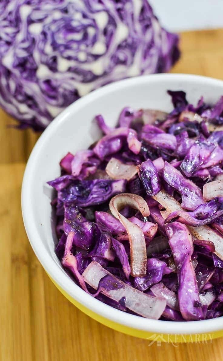 Need a new side dish? Try Southwest Sautéed Red Cabbage with onion and seasonings as part of a colorful and delicious dinner. Your family will love this red cabbage recipe.