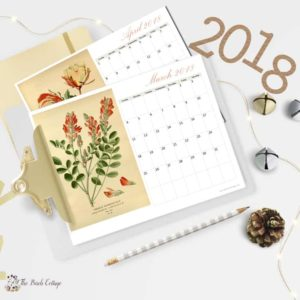 2018 Printable Monthly Calendar With Vintage Art
