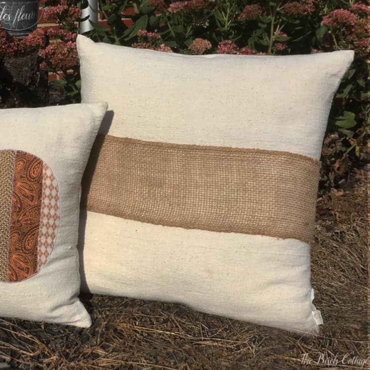 Make a No-Sew Burlap Pillow Wrap Using Burlap Ribbon