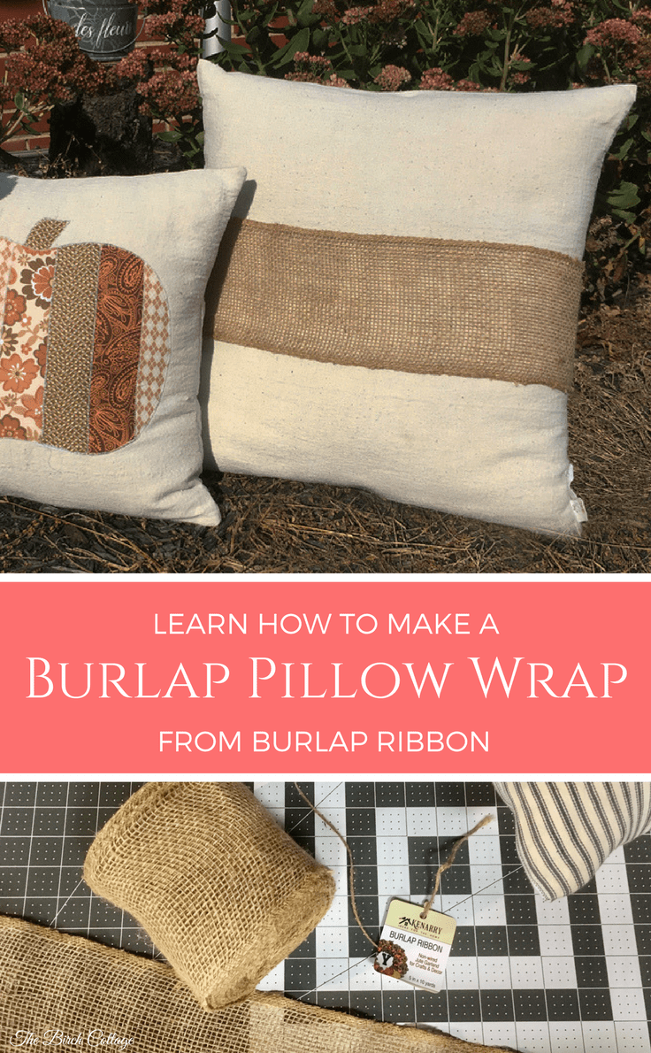Make a No-Sew Burlap Pillow Wrap from Burlap Ribbon