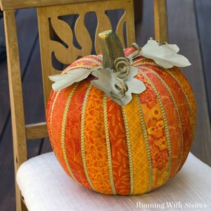 Make a faux quilted pumpkin for fall using calico fat quarters and ModPodge. A beautiful home accent and heirloom!
