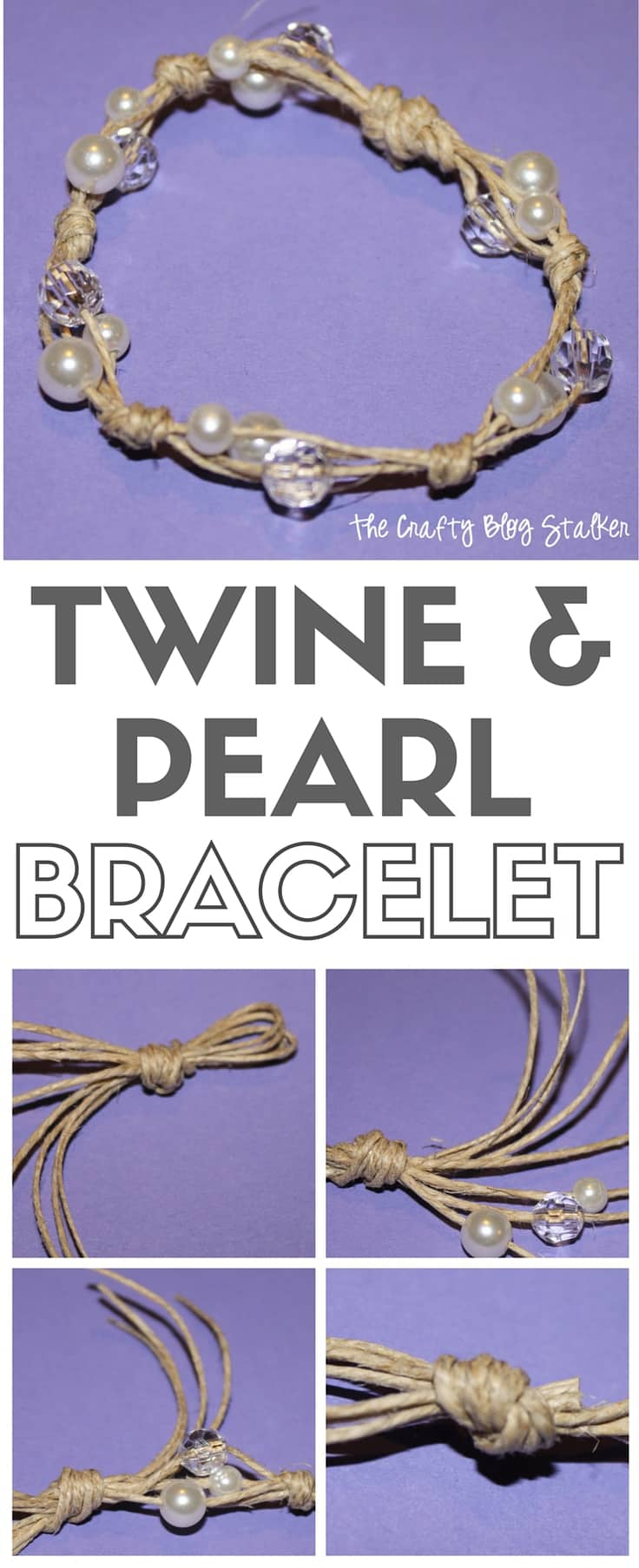 Twine and Pearl Bracelet – The Crafty Blog Stalker - Jute Craft Ideas / DIY Projects with Twine featured on Kenarry.com