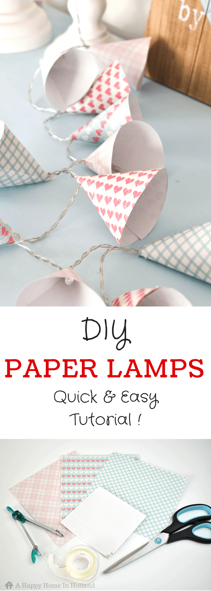 DIY Mini Paper Lampshade Covers - learn how to make these pretty paper cone covers for your old LED string lights