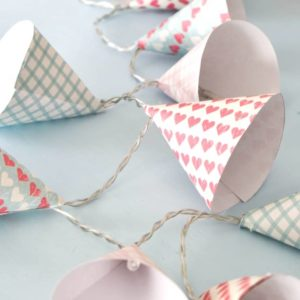 DIY Mini Paper Lamp shades - learn how to make these pretty paper cone covers for your old LED string lights