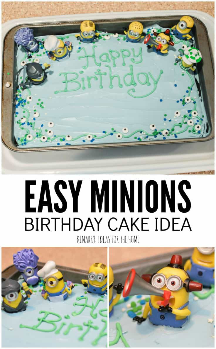 Calling all Minions fans! If you love the Despicable Me movies, this super easy Minions Birthday Cake decorating idea will be great for a kids birthday party.