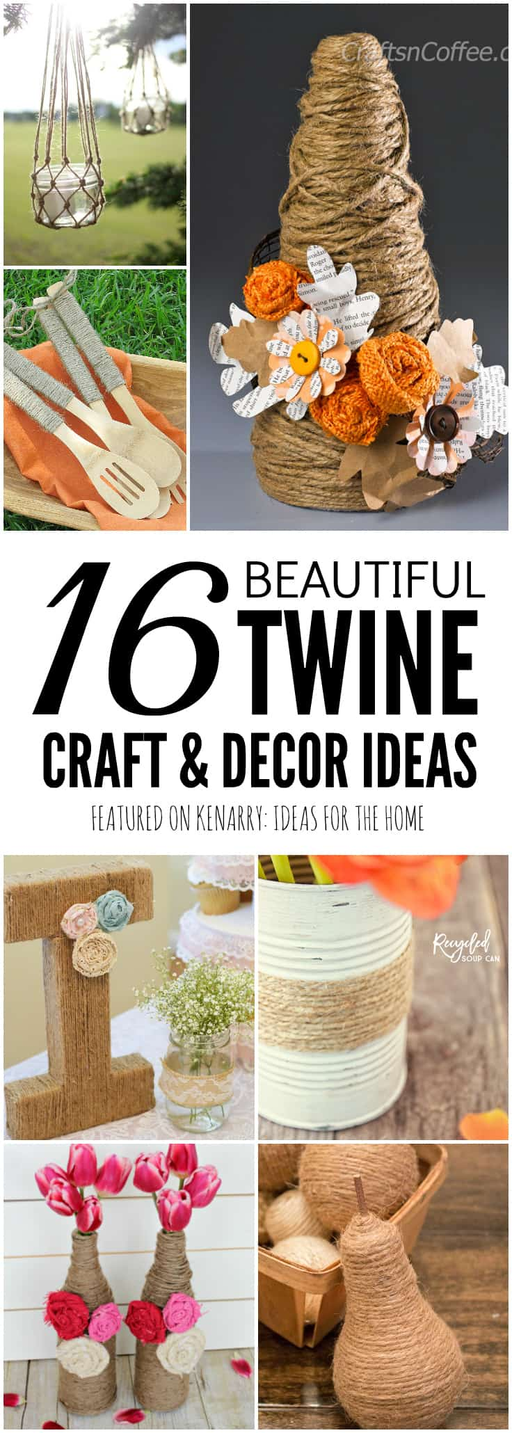 This collection of beautiful jute craft ideas includes 16 DIY projects you can make with burlap twine. If you love farmhouse style decor, you've got to check out these fun crafts.
