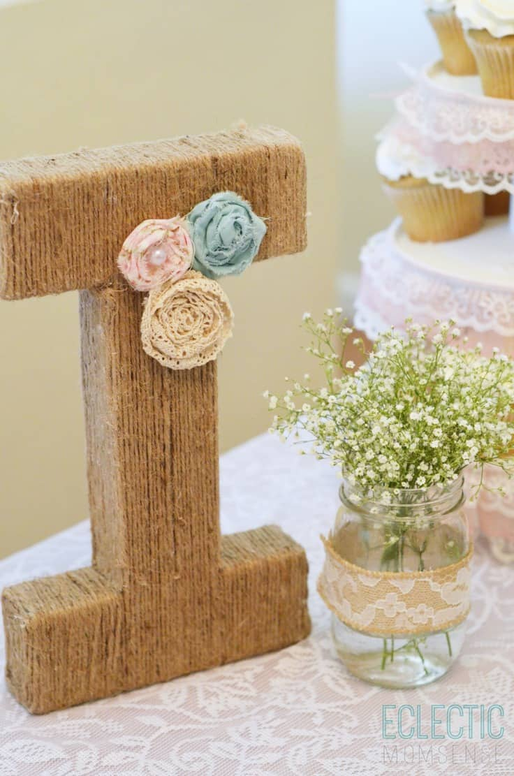 Jute Wrapped Monogram Letter – Eclectic Momsense - Jute Craft Ideas / DIY Projects with Twine featured on Kenarry.com