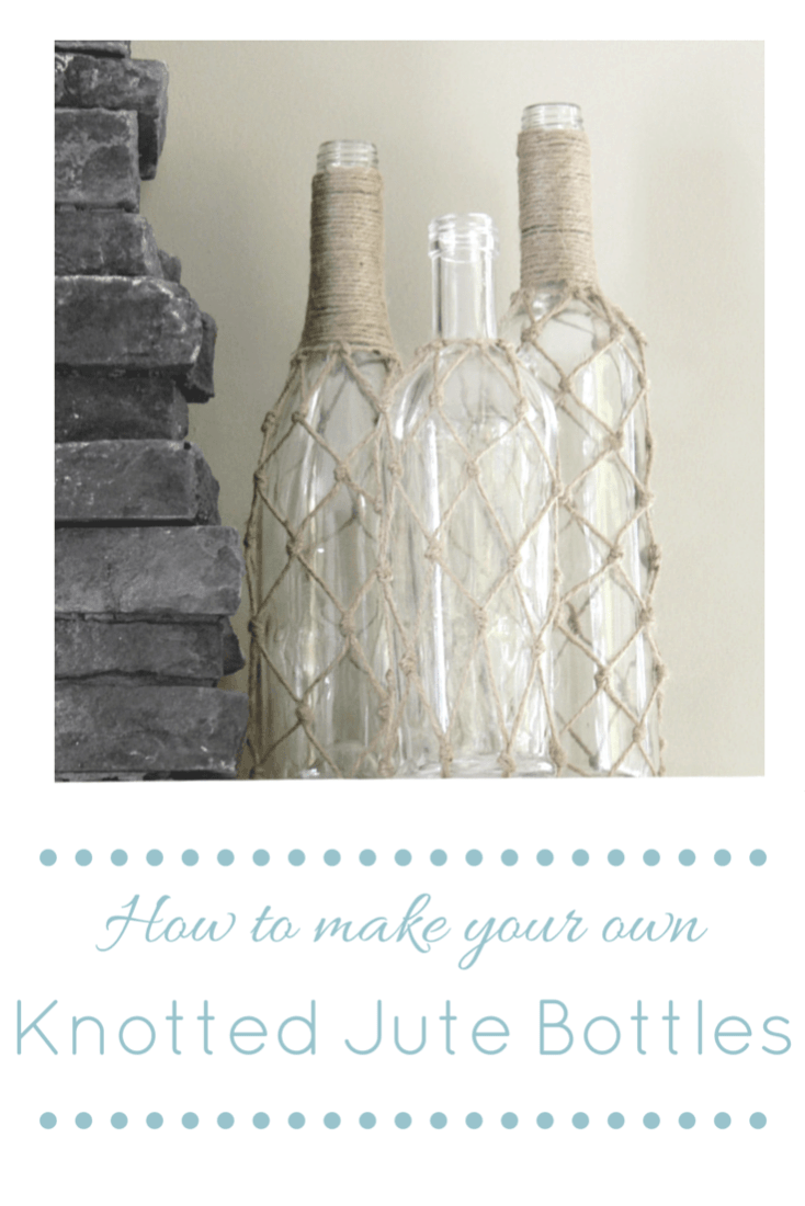 DIY Knotted Jute Bottles – Making It In the Mountains - Jute Craft Ideas / DIY Projects with Twine featured on Kenarry.com