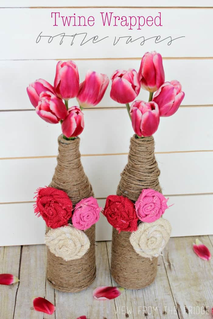 Twine Wrapped Bottle Vases – View from the Fridge - Jute Craft Ideas / DIY Projects with Twine featured on Kenarry.com