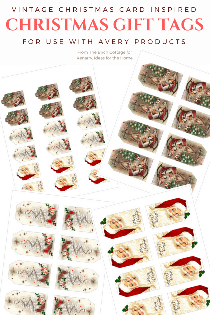 Vintage Christmas Gift Tags from The Birch Cottage are designed for use with Avery products.