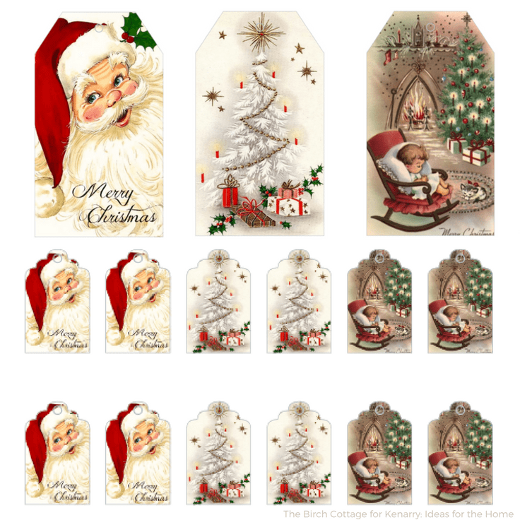 picture relating to Free Printable Vintage Images titled Down load Cost-free Printable Basic Xmas Present Tags for