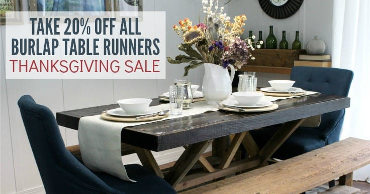 20% off all Kenarry Burlap Table Runners Now: Thanksgiving Sale