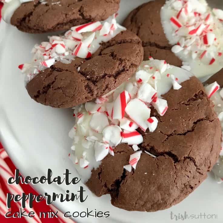 Chocolate Peppermint Cake Mix Cookies; trishsutton.com