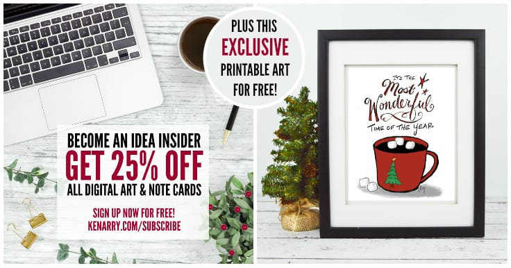 Become a Kenarry Idea Insider for 25% Off Printable Art and Note Cards on Etsy