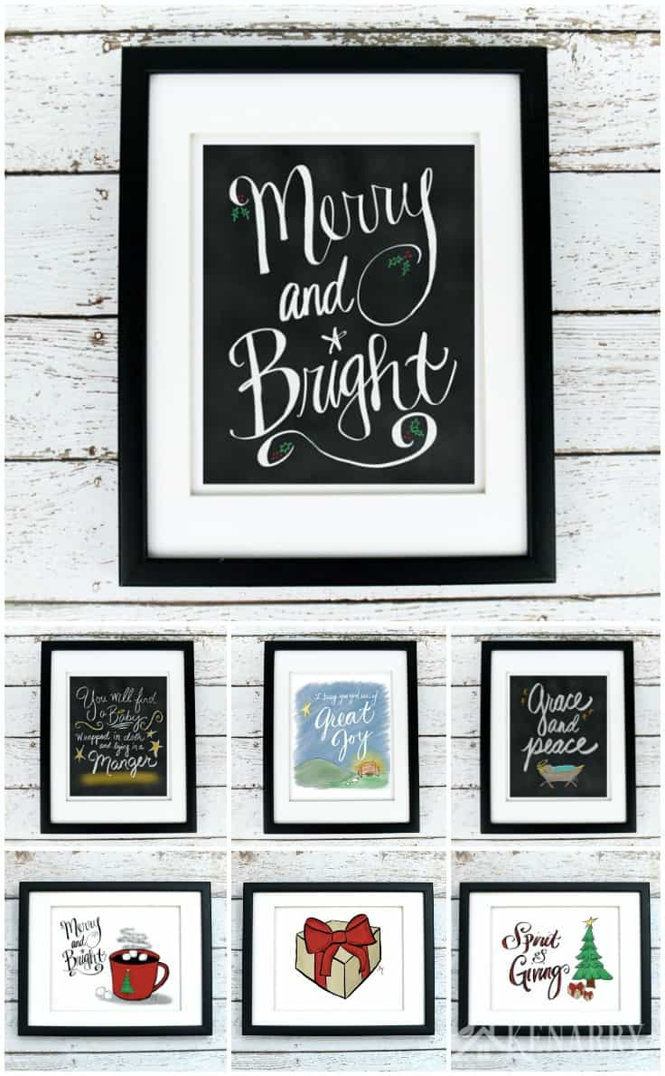Make your Christmas merry and bright! This beautiful Christmas printables collection is a great way to update your home decor for the holiday season. Each of these digital printables is available on Etsy from Kenarry: Ideas for the Home so you can decorate with Christmas wall art on a budget.
