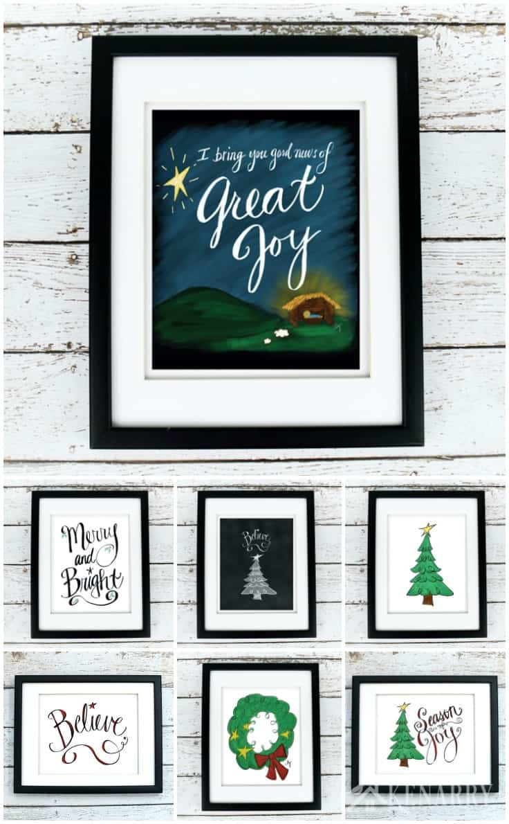 Christmas printables are a great way to easily update your home decor for the holiday season. This Christmas art collection from Kenarry: Ideas for the Home is available as digital printable art on Etsy.