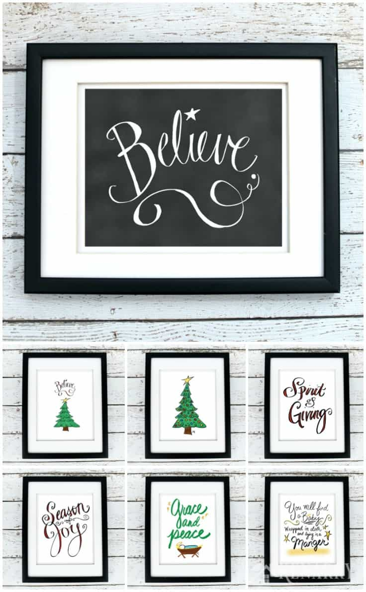 Hang these Christmas printables individually or buy several to hang as gallery wall art in your home. They're part of the Christmas art collection from Kenarry: Ideas for the Home on Etsy. Digital printables are a great way to easily decorate the walls of your home on a budget.