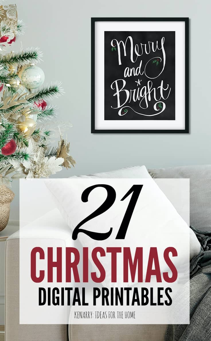 Use Christmas printables to spruce up your home decor for the holiday season. This collection of digital art from Kenarry: Ideas for the Home is available now on Etsy so you can quickly update your wall art for Christmas.