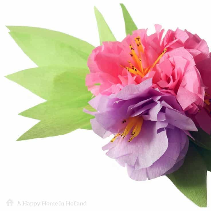 Exotic crepe paper flowers learn how to make a beautiful flower spray crepe paper flower tutorial learn how to make pretty exotic flower sprays using just colored mightylinksfo