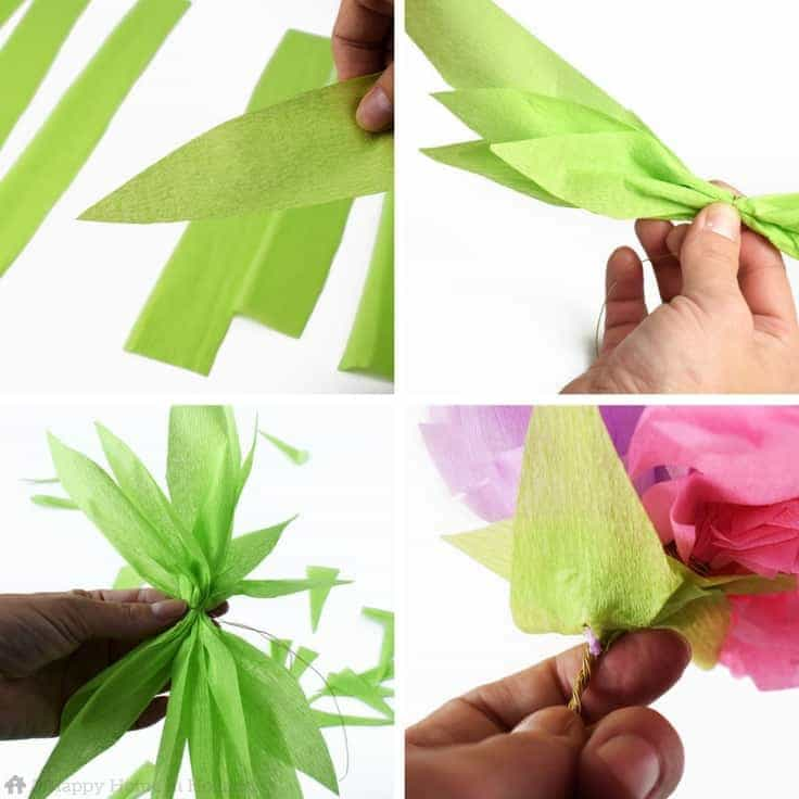 Crepe Paper Flowers Tutorial - Learn how to make pretty exotic flower sprays using just colored crepe-paper and florists wire