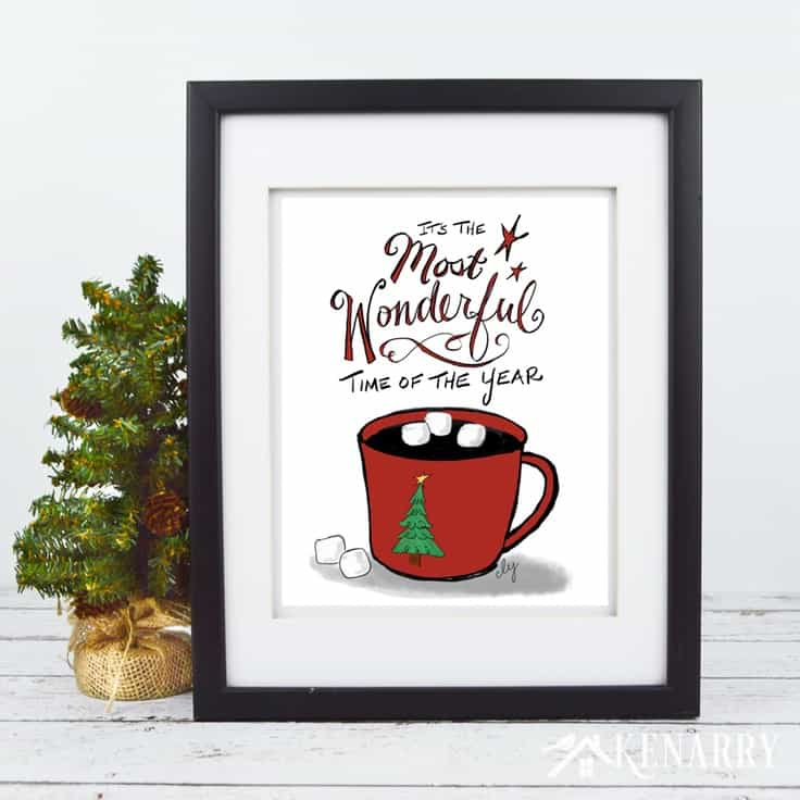 Curl up with a warm mug of hot cocoa and it's the Most Wonderful Time of the Year! This free printable Christmas art is a great way to decorate your home for the holiday season. With the festive design of this print, you can frame it for your own wall art or give to a teacher or friend as a Christmas gift.