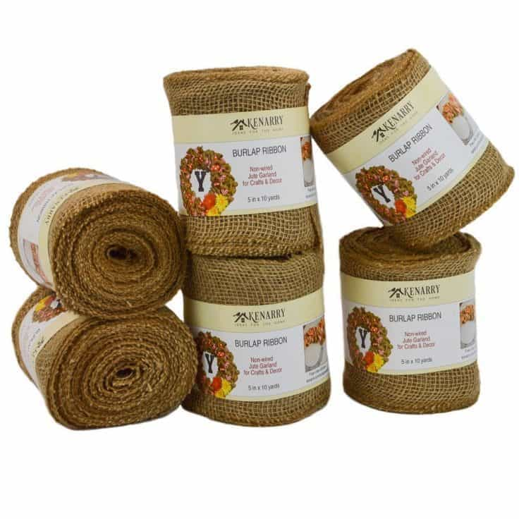 5 inch Burlap Ribbon Non-wired for Crafts and Wreaths from Kenarry