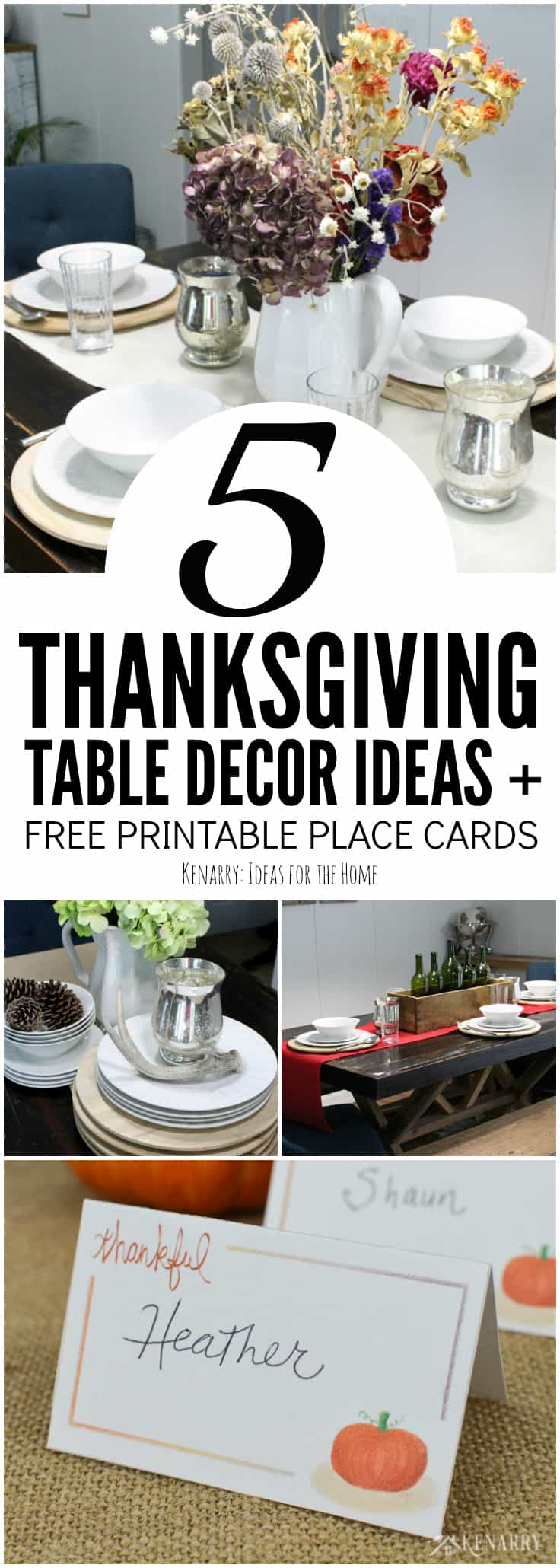 Thanksgiving table decor can be super easy with rustic farmhouse style touches like a burlap table runner. Use these 5 simple yet stylish ideas and tips along with free printable place cards to create a holiday dinner your family will enjoy.