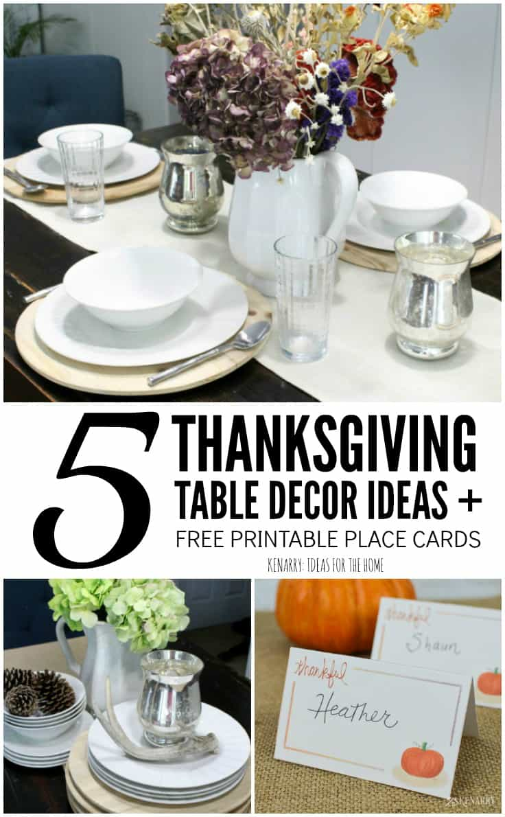 Use these 5 simple yet stylish ideas and tips along with free printable place cards to create a holiday dinner your family will enjoy. Thanksgiving table decor can be super easy with rustic farmhouse style touches like a burlap table runner.