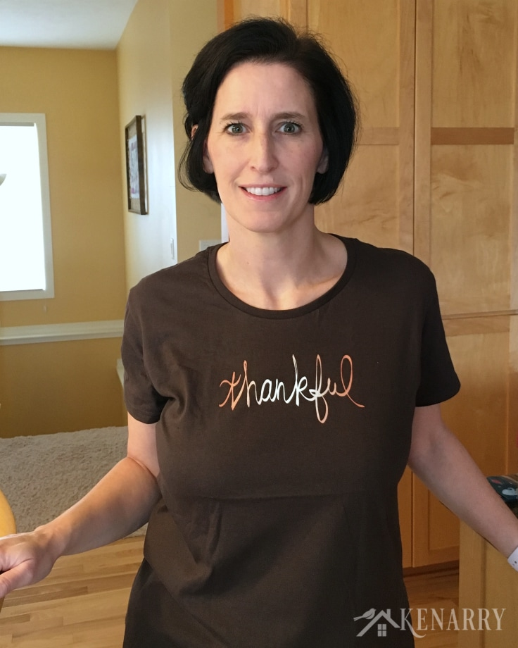 Carrie wearing Thankful T-Shirt - Thanksgiving Shirts from Kenarry
