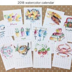 2018 Watercolor Calendar from Greco Design Company