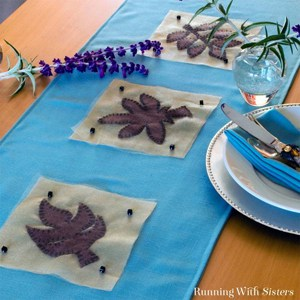 Make an Applique Leaf Table Runner to set a perfect table for fall. This is an easy sewing project for any beginner with a sewing machine!