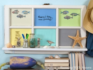 Make an Upcycled Window Shelf from an old window. This DIY window shelf is a great way to add a window to a room plus you can use the panes as a memo board.